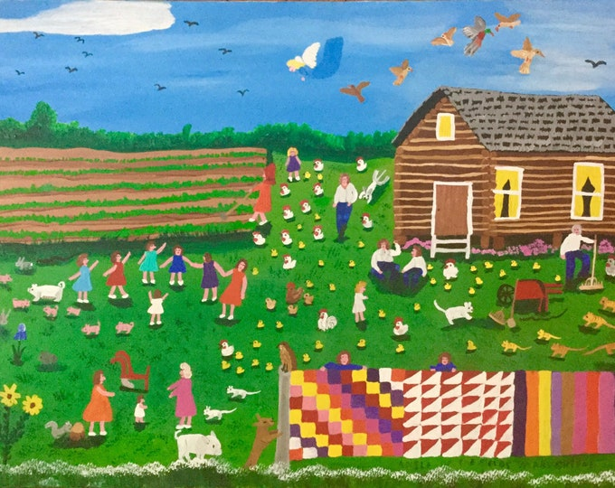 Original American South Folk Art Painting by Renowned Artist Mary Greene Angel Of The Fields Appalachia