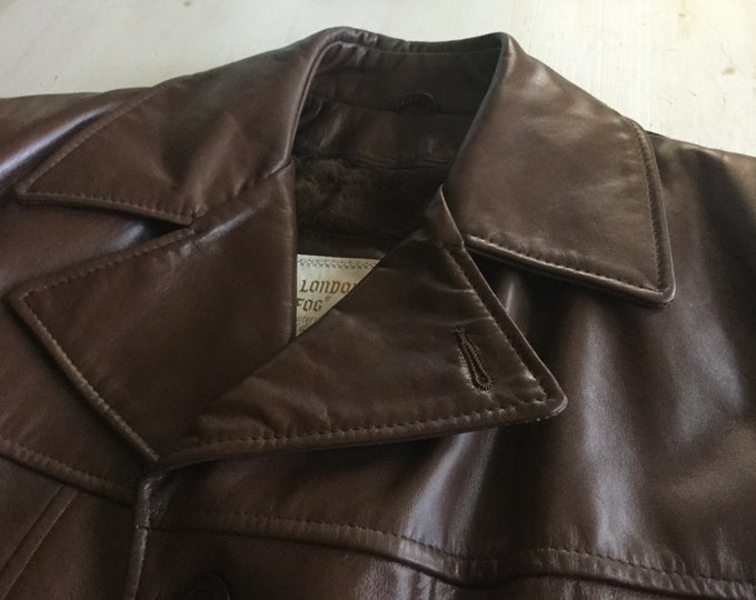 Vintage Brown Leather Car Coat London Fog Size 40 Long Removable Lining NEW CONDITION Medium