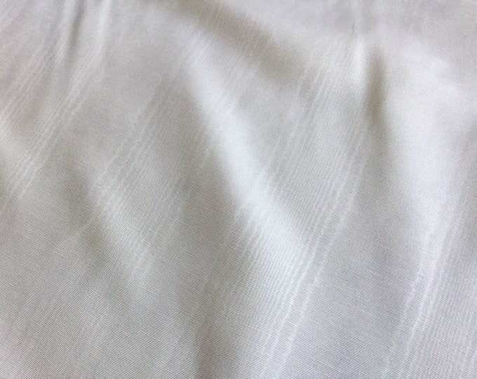 White Moire Fabric Cotton Blend Upholstery Drapery Lining Apparel Fiber Art Crafting QUALITY Coptic White