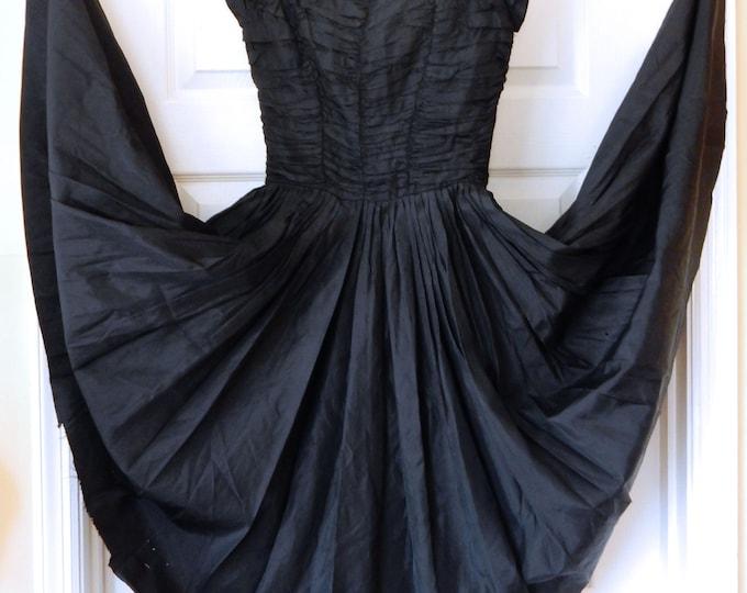 50s Gigi Young Cocktail Party Dress Black Taffeta NEEDS EASY REPAIR