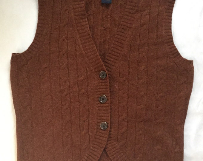Womens Vintage Brooks Brothers Chesnut Brown Lambswool Cableknit Cardigan Vest Small