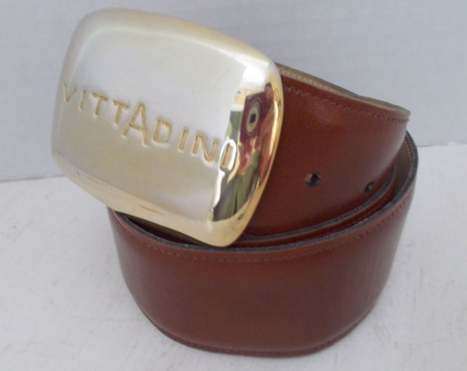 Womens Adrienne Vittadini Signature Brown Leather Belt Made in the USA