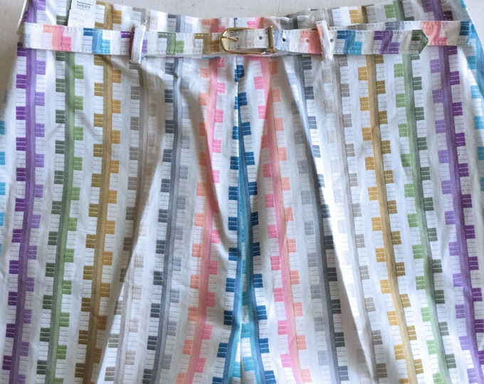 New Old Stock Early 1960s COLORFUL Clarise Sportswear Mid Century Cotton Capris MEDIUM