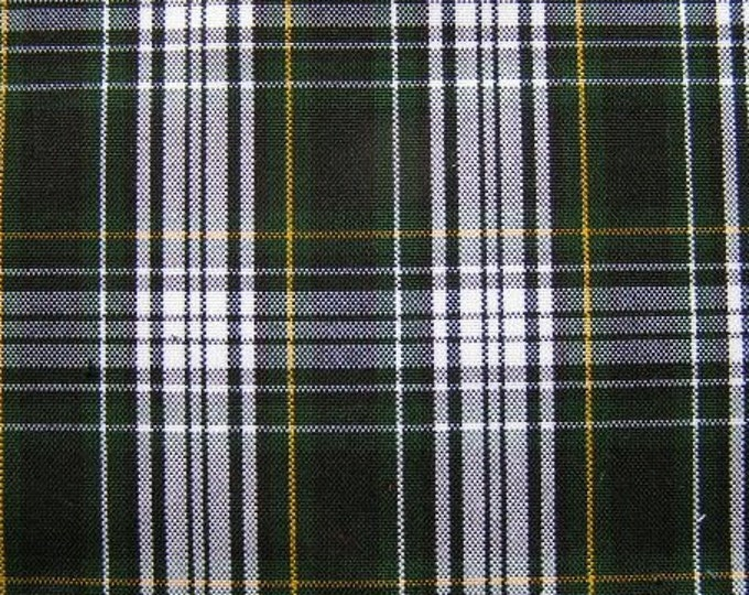 Campbell Tartan Green White Yellow Plaid Fabric Home Decorating Slipcovers Upholstery School Uniform