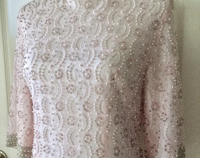 Beautiful Petal Pink Sequin Beaded Evening Gown Silk Lace Simple Elegant Vintage PRISTINE CONDITION