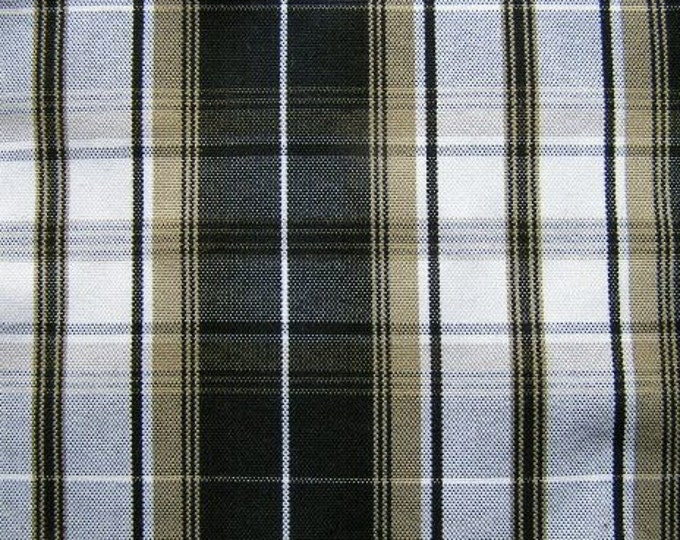 Black Khaki White Plaid Upholstery Slipcover Apparel Craft Fabric Home Decorating