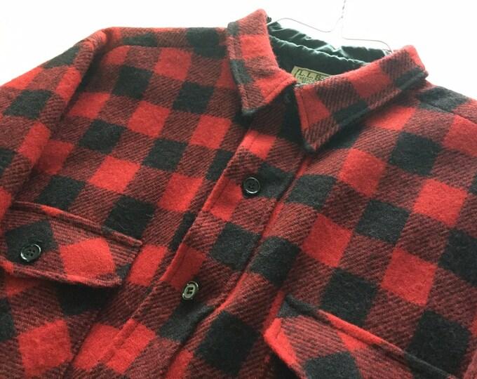 LL Bean Classic Buffalo Check Wool Jacket Red Black Lumberjack Shirt Dry Cleaned Large
