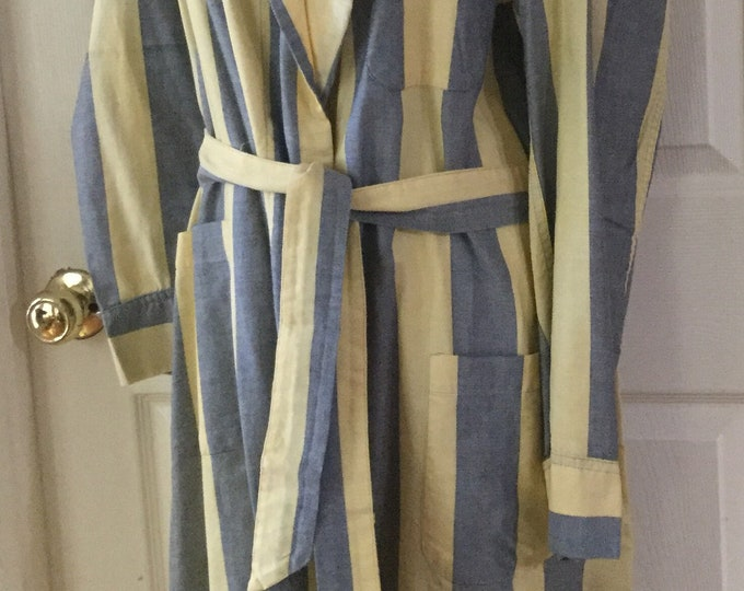 Vintage Mens Vanderbilt Bathrobe Blue Yellow Cotton Stripe Medium Large Robe PRISTINE CONDITION