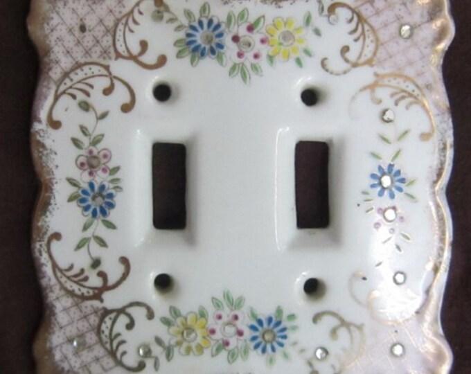 Rare 1940s Vintage Porcelain Lefton Floral  Switchplate