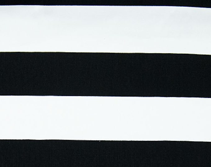 Wide Stripe Black and White Twill Heavy Fabric Prison Uniform Home Decorating Craft