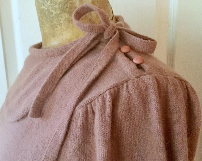 Womens 1980s Christian Dior Collared Sweater With Tie Lambs Wool Angora Clay Medium
