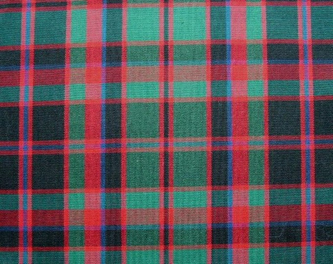 MacDonald Tartan Fabric Red Green Black Blue Plaid Cotton Blend Apparel Home Decor Crafts