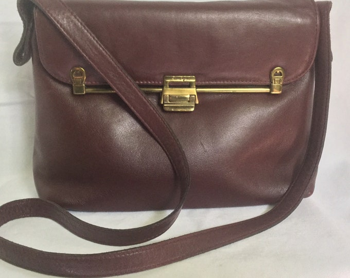 Vintage 1980s Etienne Aigner Leather Purse Oxblood Brown