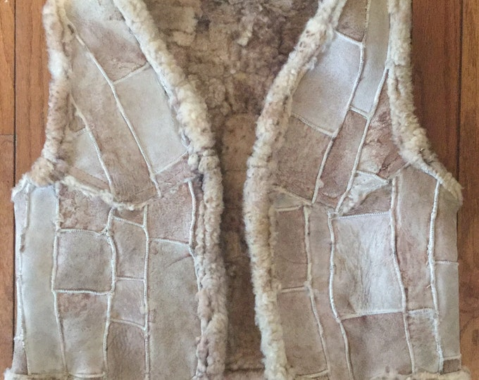 "Genuine Sheepskin Vest Vintage Boho Mid Century Patchwork USA 40"" Chest"