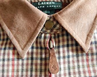 dc33abeef96db Vintage Ralph Lauren Check Southwestern Ranch Wear Wool Tunic Shirt Brass  Snaps Suede Collar Full Zipper