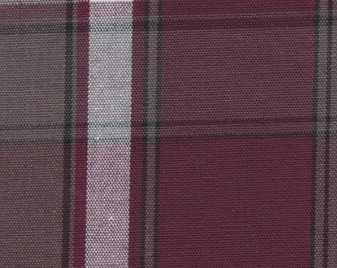 Wine Gray White Plaid Fabric Cotton Blend Uniform Drapery Apparel Crafting