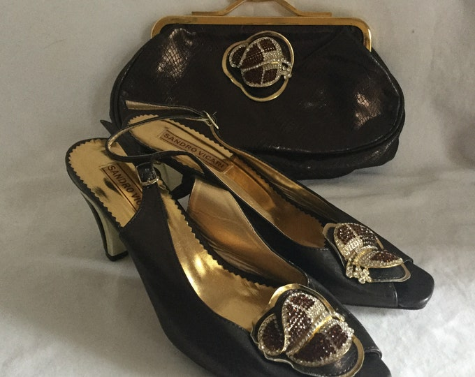 Sandro Vicari Matching Set Shoes and Evening Bag Crystal Cloche Hat Ornaments