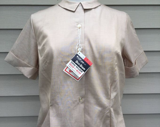 New Old Stock 1950s Beige Cotton Blouse Original Hang Tags Peter Pan Collar Pretty Pleats