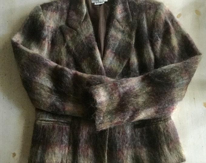Earthy Brown Plaid Mohair Blazer Medium Crimson Gray Jacket Gantos