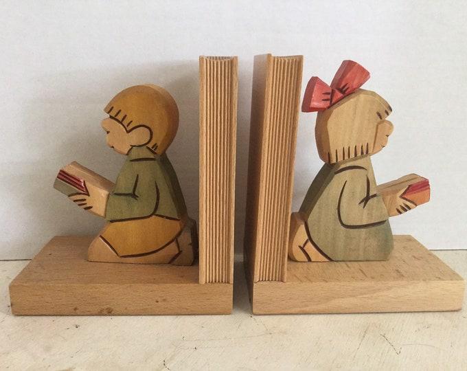 Vintage Hand Carved Wood Childrens Bookends Boy Girl Unisex