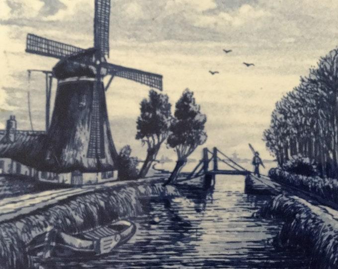 Pair of Handpainted Delft Blauw Blue Tiles Holland Fisherman Windmills Netherlands