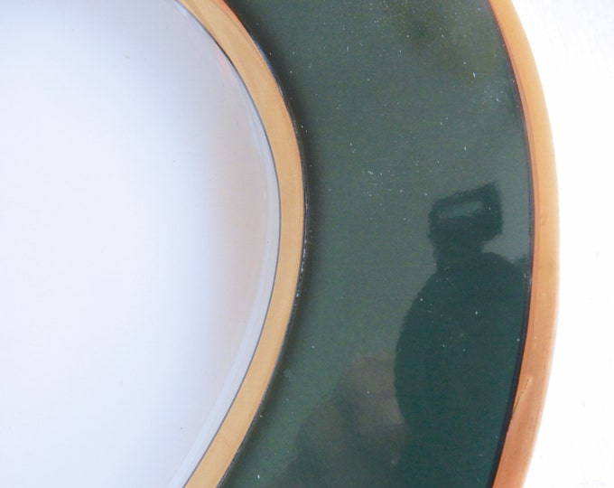 Large Fitz And Floyd Renaissance China Platter White With Dark Green and Gold