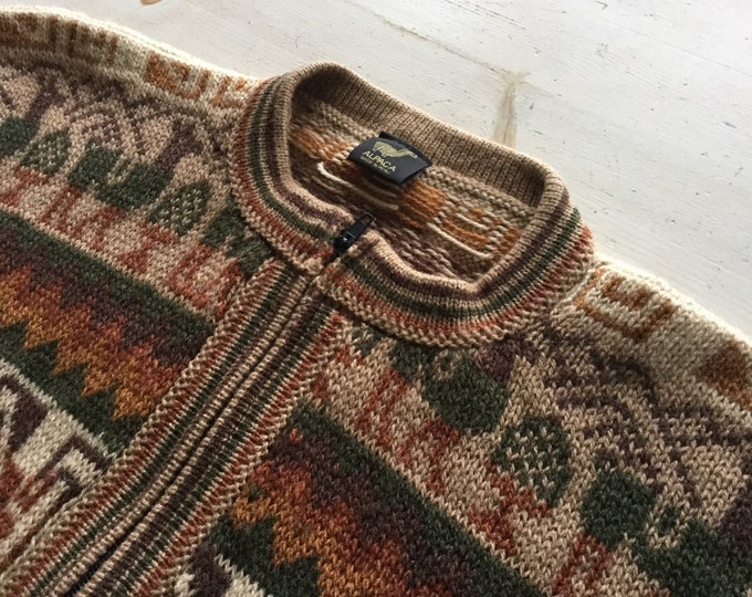 Alpaca Wool Cardigan Sweater With Zipper Front and Pockets Size Medium Earthy Colors
