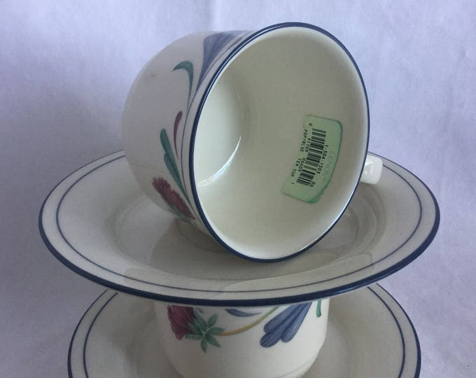 Pair Lenox Poppies on Blue Cup and Saucer 2 Sets NEW