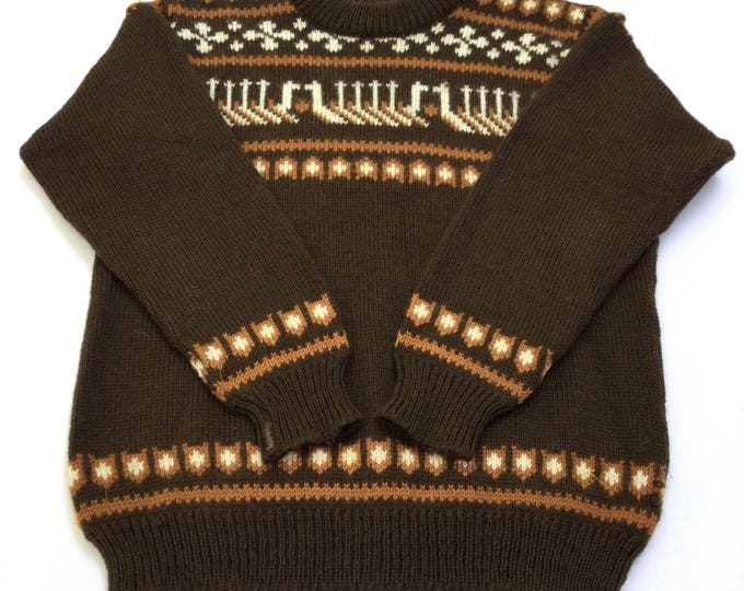 Rare Vintage Dale of Norway Nordic Sweater With Viking Ship Brown Icelandic Wool Pullover Small Pristine