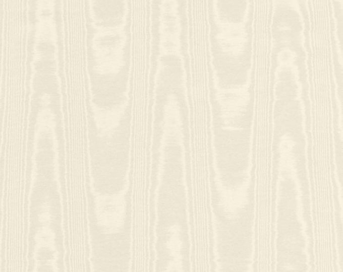 Moire Fabric Ivory Cotton Blend Upholstery Drapery Heavy Lining Fiber Art Crafting