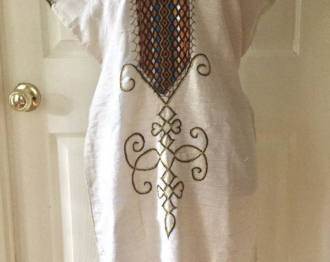 Boho Summer Dress or Tunic Peasant Top Natural Cotton With Metallic Thread Embroidered Neckline Back Ties SUPER CUTE