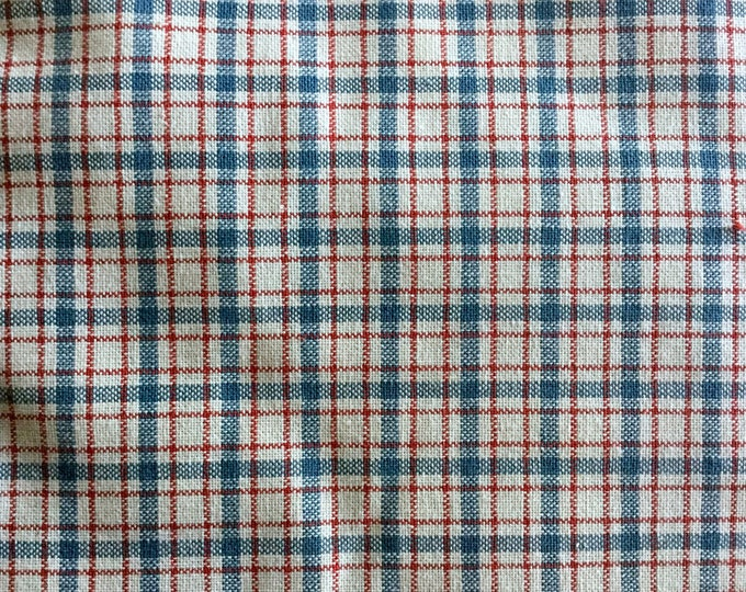 Red White Blue Plaid Fabric Yarn Dyed Light Medium Weight For Quilting Apparel