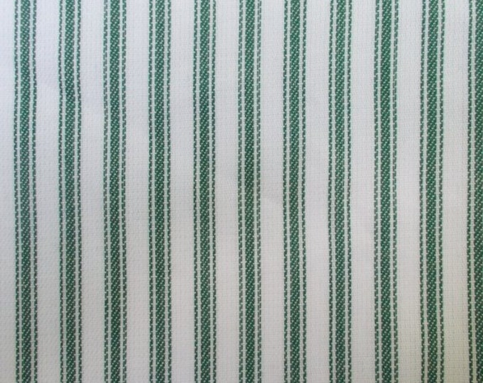 Green White Ticking Stripe Fabric Pure Cotton Home Decor Apparel Drapery