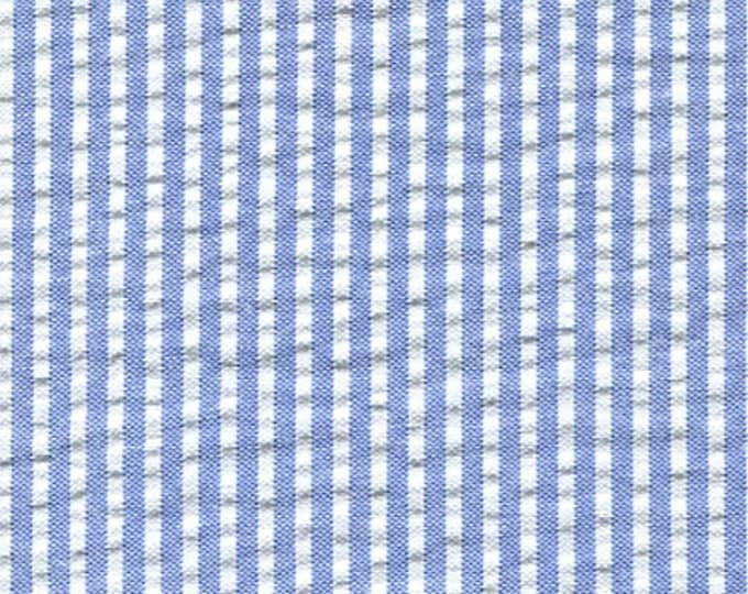 Blue White Stripe Seersucker Fabric Classic Yarn Dyed Cotton Blend