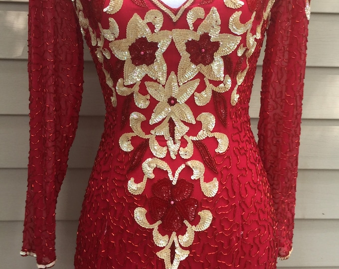 Gorgeous Red Sequin Beaded Evening Gown Silk Gold Elegant Vintage Dress EXCELLENT CONDITION