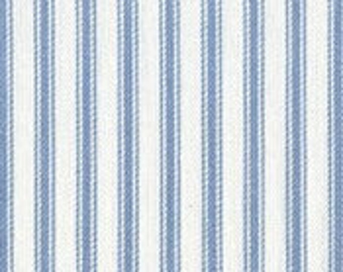 Light Blue White Ticking Stripe Fabric Cotton For Apparel Home Decor Crafts
