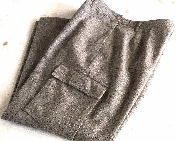 Vintage LL Bean Womens Wool Cargo Pants Brown Tweed Large Petite PRISTINE CONDITION