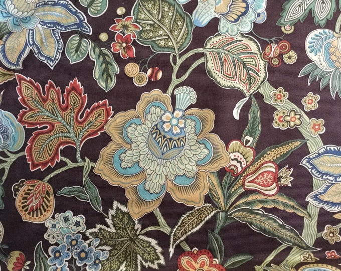 Braemore Brown Jacobean Floral Upholstery Drapery Multipurpose Fabric
