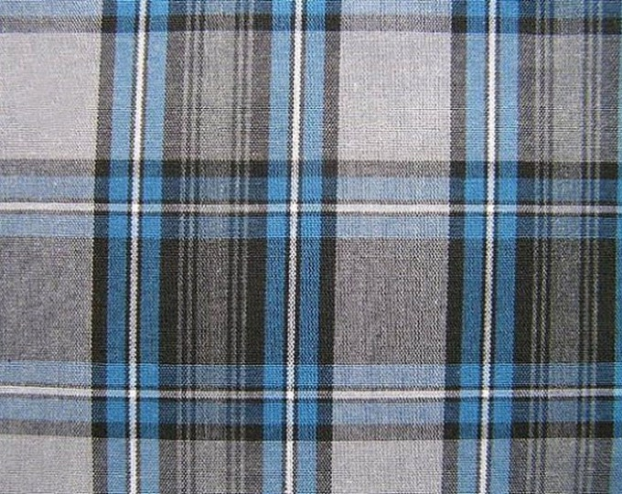 Blue Gray Black Plaid Fabric Home Decorating Crafting School Uniform