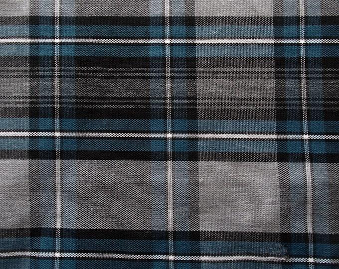 Gray Pacific Blue Black White Plaid Cotton UNIFORM Drapery Apparel Crafting Fabric