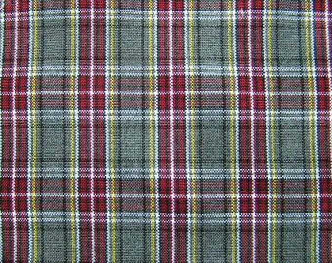 Burgundy Gray Plaid Fabric UPHOLSTERY APPAREL CRAFTS Raising Helen School Uniforms