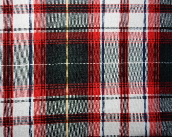 White Red Black Plaid Fabric Cotton Drapery Apparel Crafting Fabric Uniform Plaid