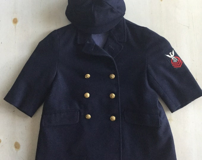 Kids USA Navy Peacoat and Hat Set Vintage Wool Coat Outfit Baby Toddler