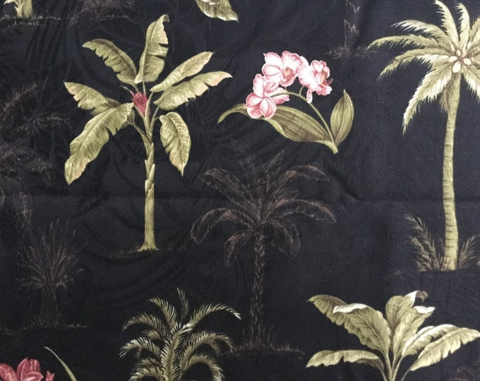 Waverly KAUAI TROPICAL Floral Apparel Tablecloth Home Decor Black Coral Cream