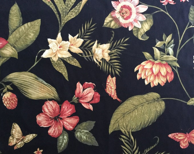 Black Floral Fabric For Home Decor Kingsway Tropical Beach Rust Pink Green Orchids Butterflies Caribbean Dawn
