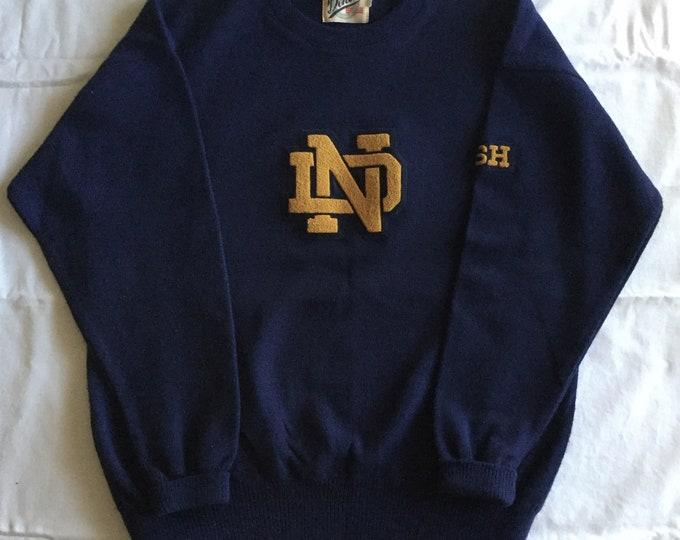 Vintage University of Notre Dame Mens Sweater XL Navy Gold PRISTINE Fighting Irish Football
