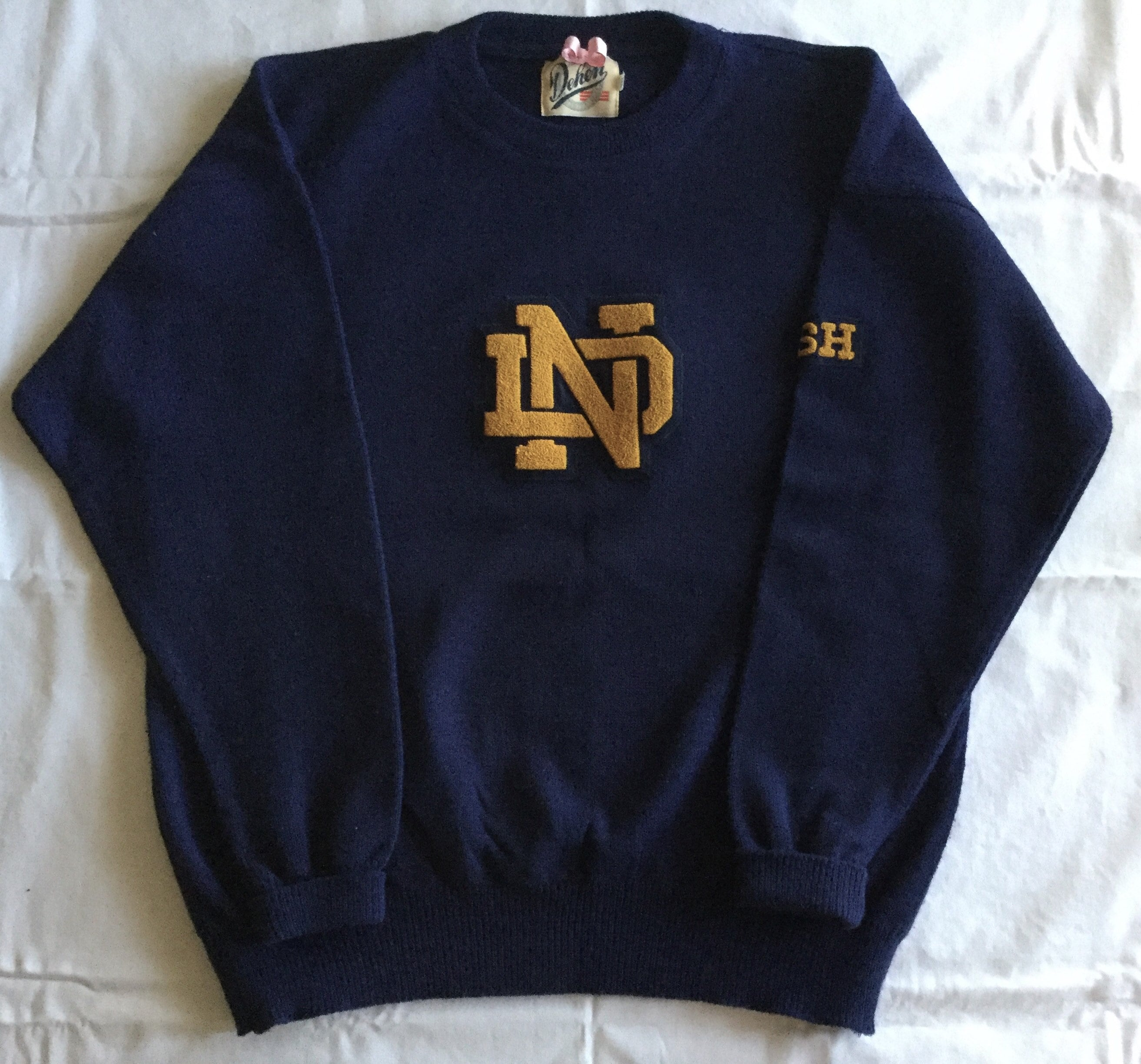 Vintage University of Notre Dame Mens Sweater XL Navy Gold PRISTINE ...