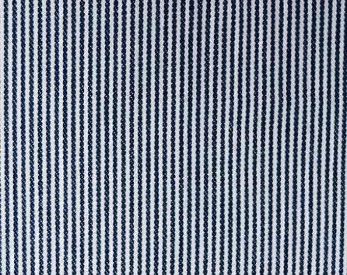 Railroad Stripe Denim Fabric Blue White Cotton By the Yard Narrow Striped