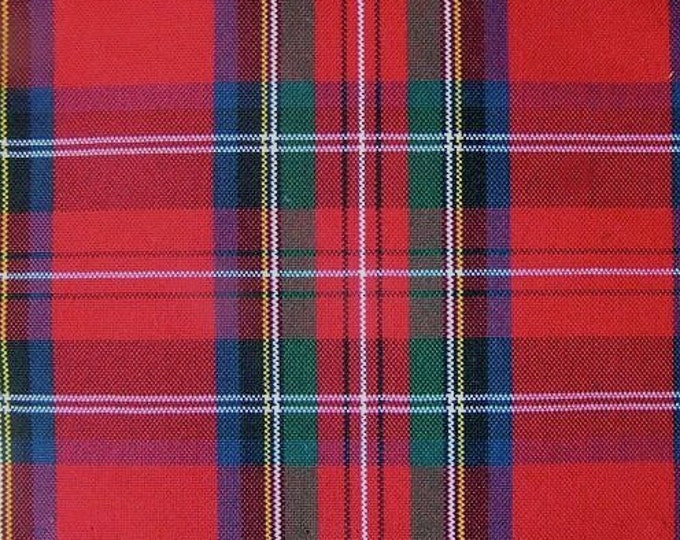 Royal Stewart Red Plaid Fabric Tartan UPHOLSTERY Home Decorating CRAFTS