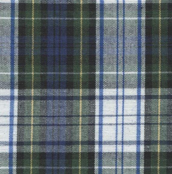 Yellow /& Blue Cotton Blend Tartan Style Check Fabric//Material FREE UK P/&P